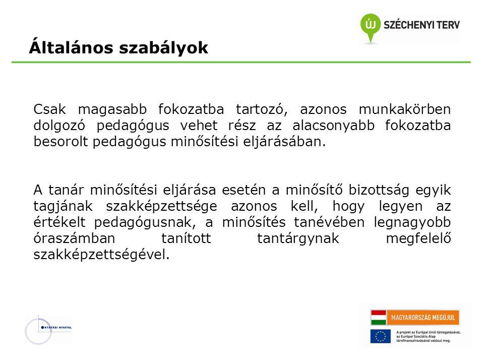 Speciális szabályok Kutatótanár fokozatba történő besorolásra irányuló minősítési eljárás esetében a három említett tagon kívül a minősítőbizottság további tagja a Magyar Tudományos Akadémia delegáltja.