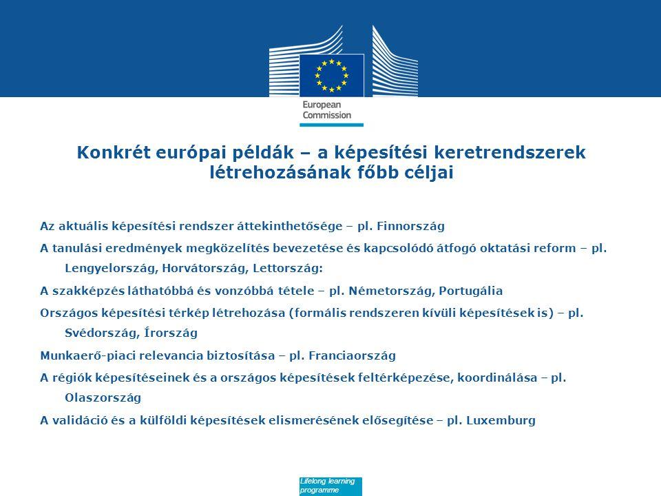 Date: in 12 pts Konkrét európai példák – a képesítési keretrendszerek létrehozásának főbb céljai Az aktuális képesítési rendszer áttekinthetősége – pl