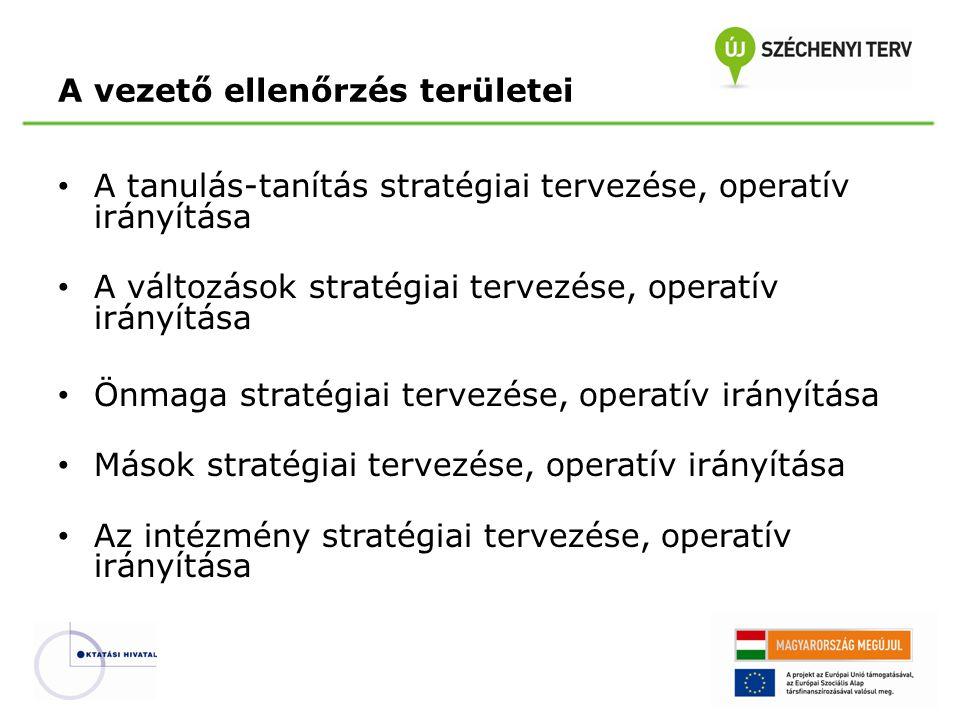 A vezető ellenőrzés területei A tanulás-tanítás stratégiai tervezése, operatív irányítása A változások stratégiai tervezése, operatív irányítása Önmag