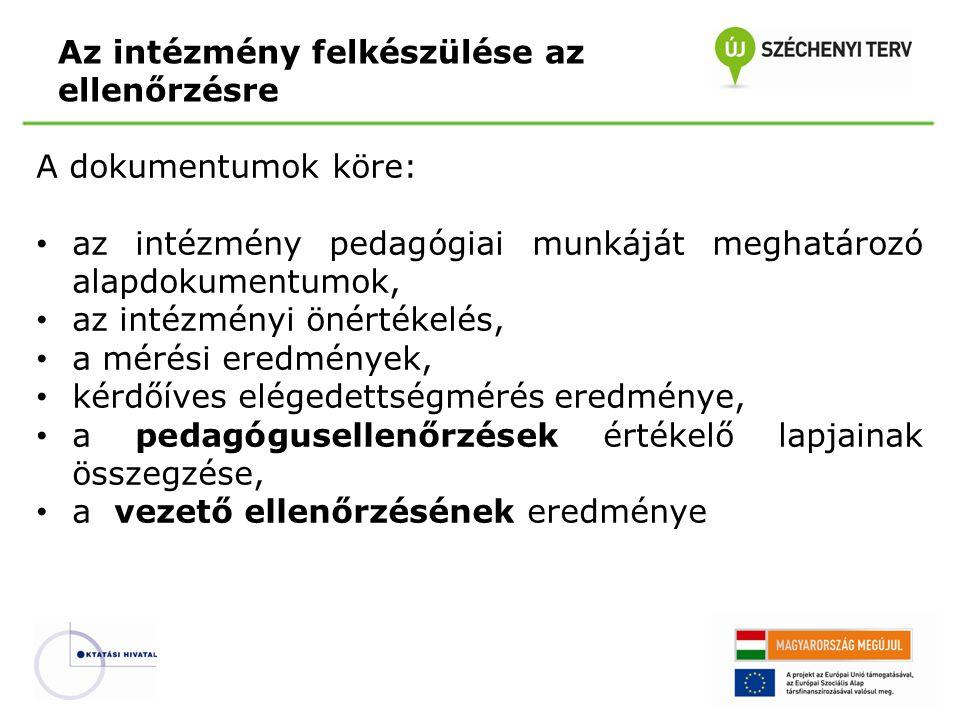 A dokumentumok köre: az intézmény pedagógiai munkáját meghatározó alapdokumentumok, az intézményi önértékelés, a mérési eredmények, kérdőíves elégedet