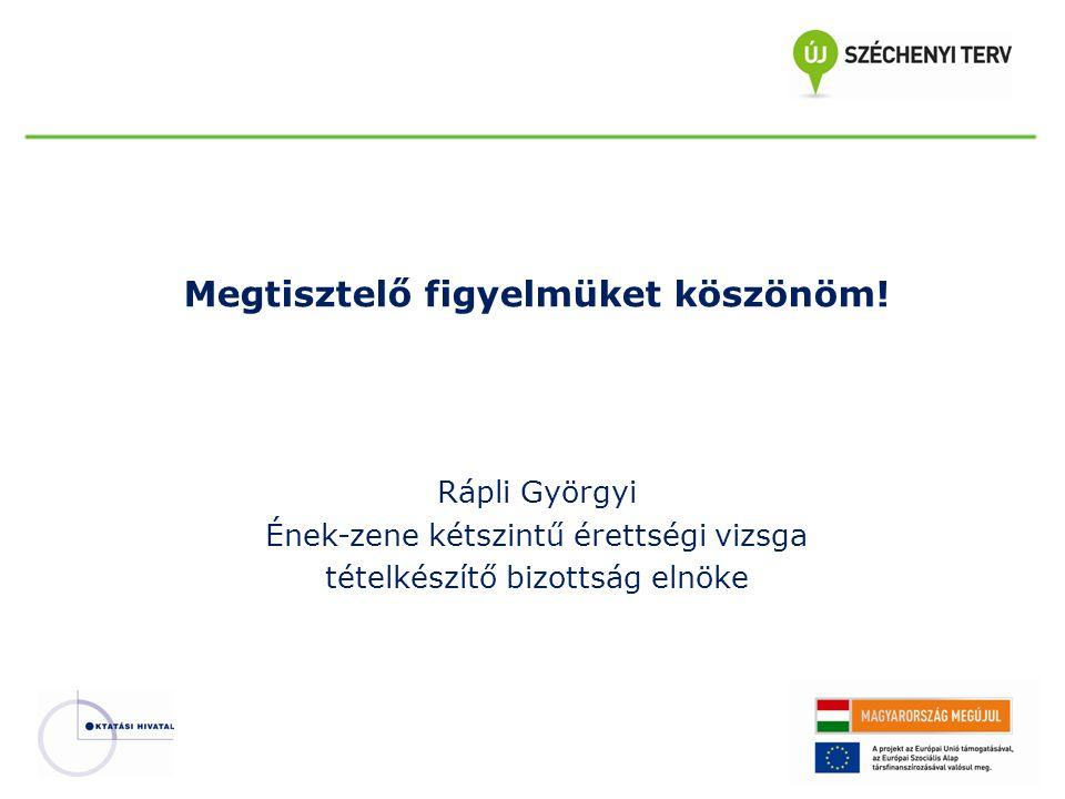 Megtisztelő figyelmüket köszönöm! Rápli Györgyi Ének-zene kétszintű érettségi vizsga tételkészítő bizottság elnöke