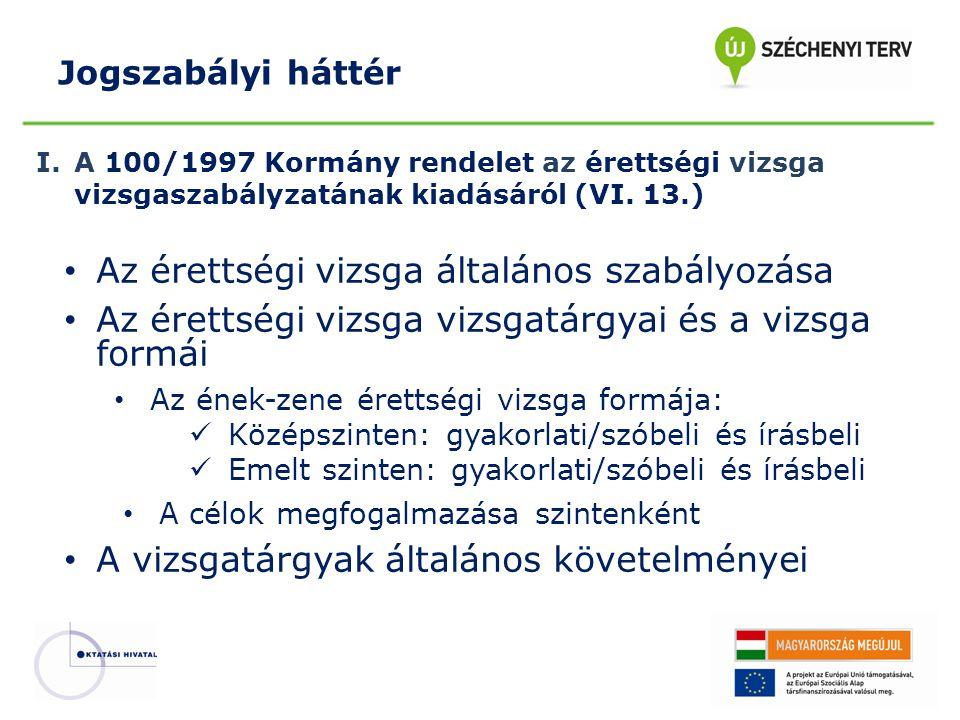 I.A 100/1997 Kormány rendelet az érettségi vizsga vizsgaszabályzatának kiadásáról (VI. 13.) Az érettségi vizsga általános szabályozása Az érettségi vi