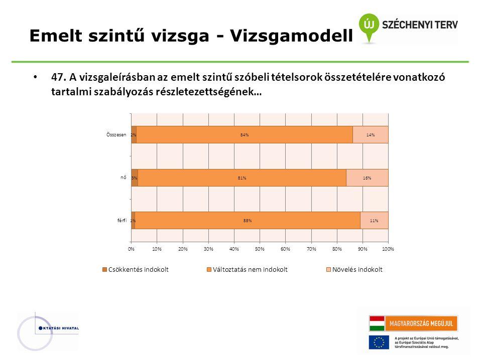 47. A vizsgaleírásban az emelt szintű szóbeli tételsorok összetételére vonatkozó tartalmi szabályozás részletezettségének… Emelt szintű vizsga - Vizsg