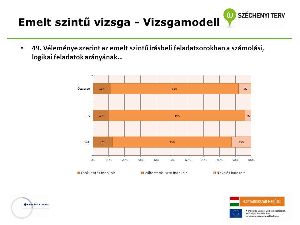 49. Véleménye szerint az emelt szintű írásbeli feladatsorokban a számolási, logikai feladatok arányának… Emelt szintű vizsga - Vizsgamodell