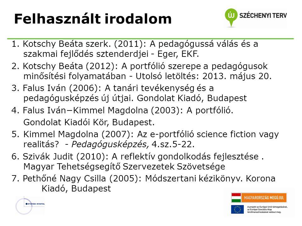 Felhasznált irodalom 1. Kotschy Beáta szerk. (2011): A pedagógussá válás és a szakmai fejlődés sztenderdjei - Eger, EKF. 2. Kotschy Beáta (2012): A po