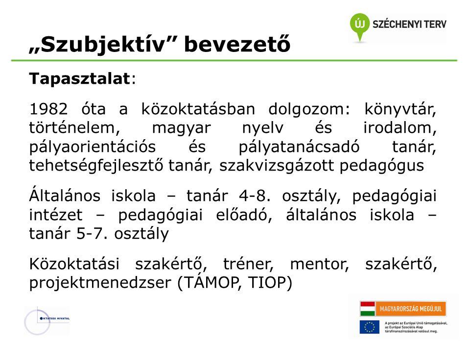 """""""Szubjektív"""" bevezető Tapasztalat: 1982 óta a közoktatásban dolgozom: könyvtár, történelem, magyar nyelv és irodalom, pályaorientációs és pályatanácsa"""