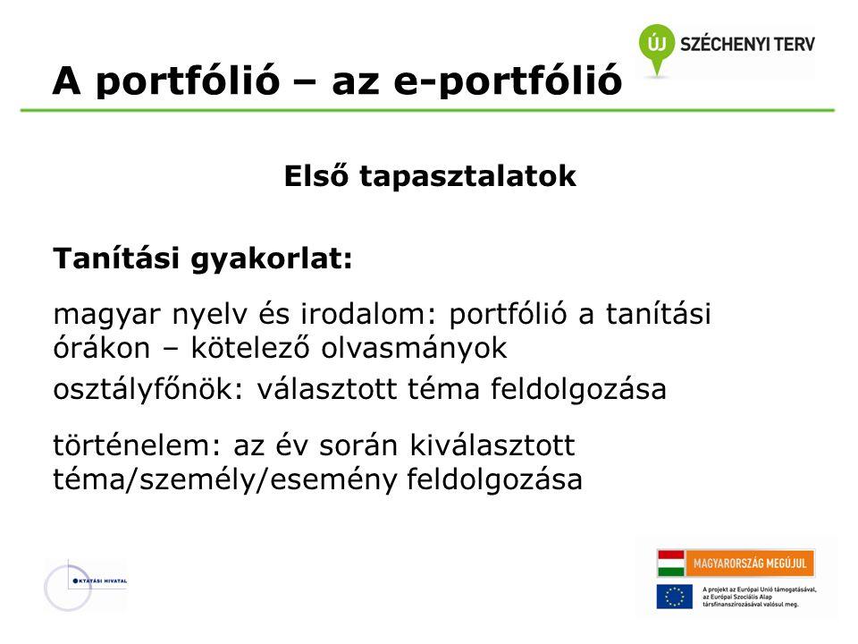A portfólió – az e-portfólió Első tapasztalatok Tanítási gyakorlat: magyar nyelv és irodalom: portfólió a tanítási órákon – kötelező olvasmányok osztá