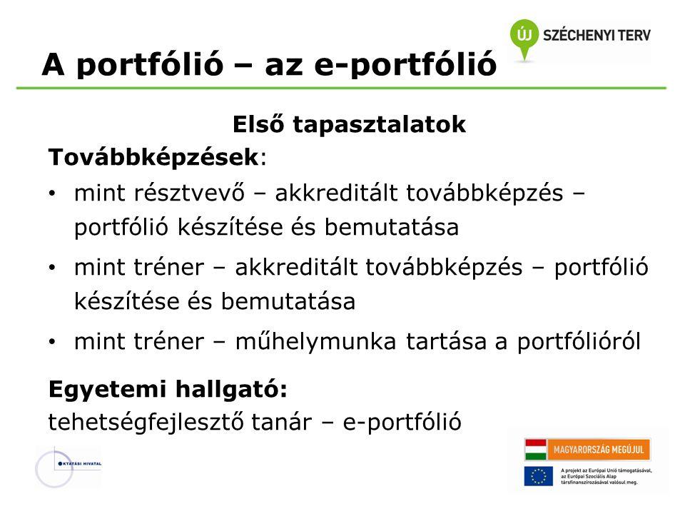 A portfólió – az e-portfólió Első tapasztalatok Továbbképzések: mint résztvevő – akkreditált továbbképzés – portfólió készítése és bemutatása mint tré
