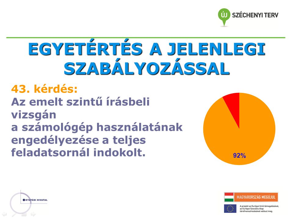 EGYETÉRTÉS A JELENLEGI SZABÁLYOZÁSSAL 43.
