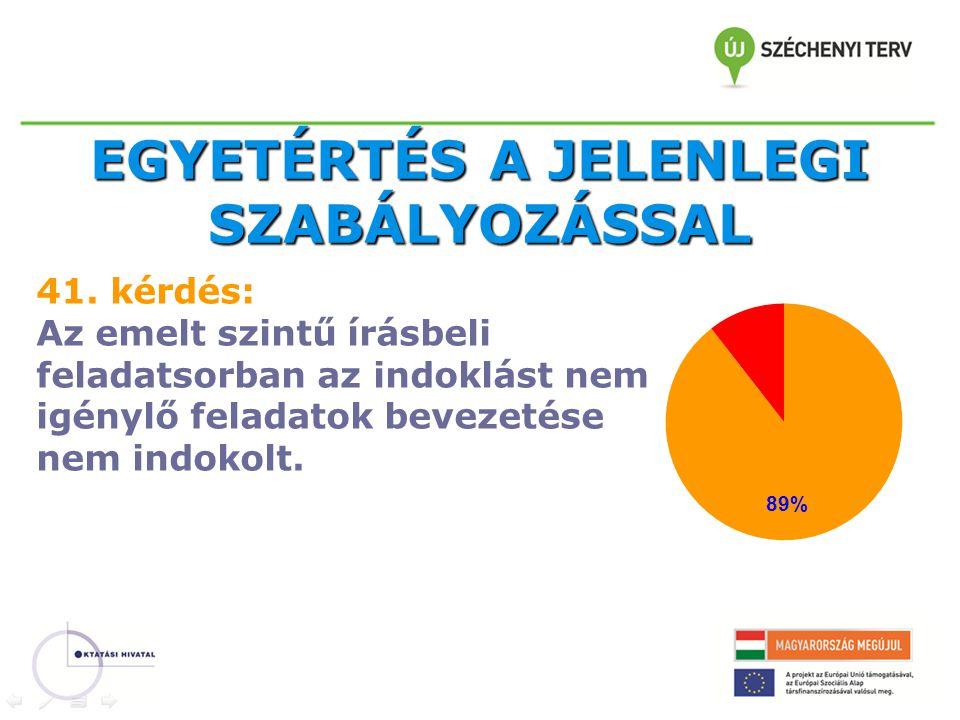 EGYETÉRTÉS A JELENLEGI SZABÁLYOZÁSSAL 41.
