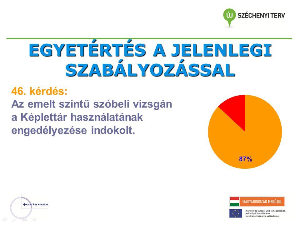 EGYETÉRTÉS A JELENLEGI SZABÁLYOZÁSSAL 46.