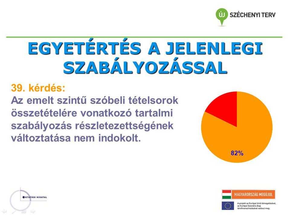 EGYETÉRTÉS A JELENLEGI SZABÁLYOZÁSSAL 39.