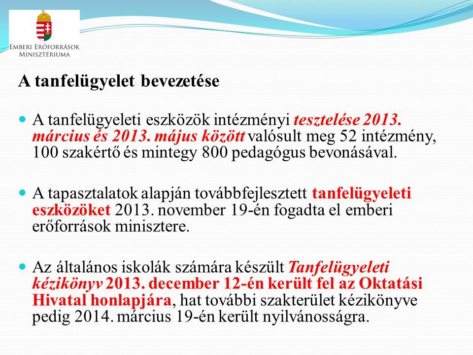 A tanfelügyelet bevezetése A tanfelügyeleti eszközök intézményi tesztelése 2013. március és 2013. május között valósult meg 52 intézmény, 100 szakértő