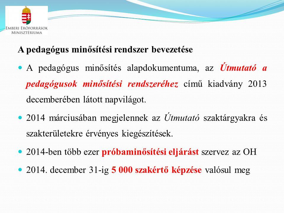 A pedagógus minősítési rendszer bevezetése A pedagógus minősítés alapdokumentuma, az Útmutató a pedagógusok minősítési rendszeréhez című kiadvány 2013