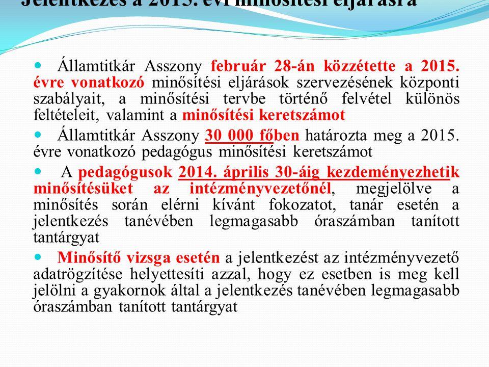 Jelentkezés a 2015. évi minősítési eljárásra Államtitkár Asszony február 28-án közzétette a 2015. évre vonatkozó minősítési eljárások szervezésének kö