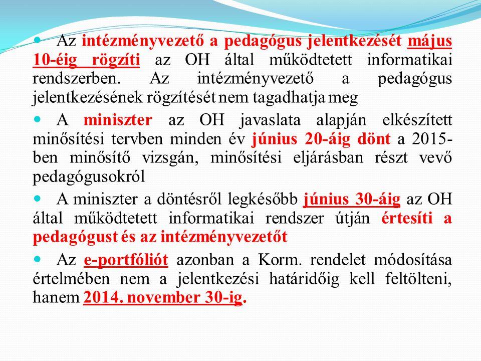 Az intézményvezető a pedagógus jelentkezését május 10-éig rögzíti az OH által működtetett informatikai rendszerben. Az intézményvezető a pedagógus jel