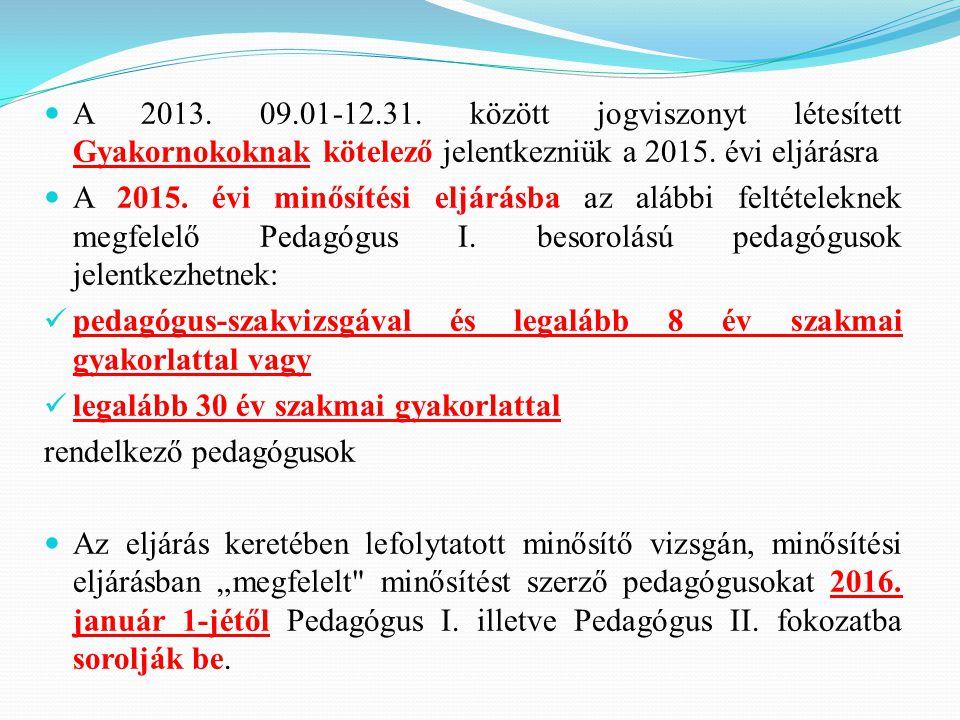 A 2013. 09.01-12.31. között jogviszonyt létesített Gyakornokoknak kötelező jelentkezniük a 2015. évi eljárásra A 2015. évi minősítési eljárásba az alá
