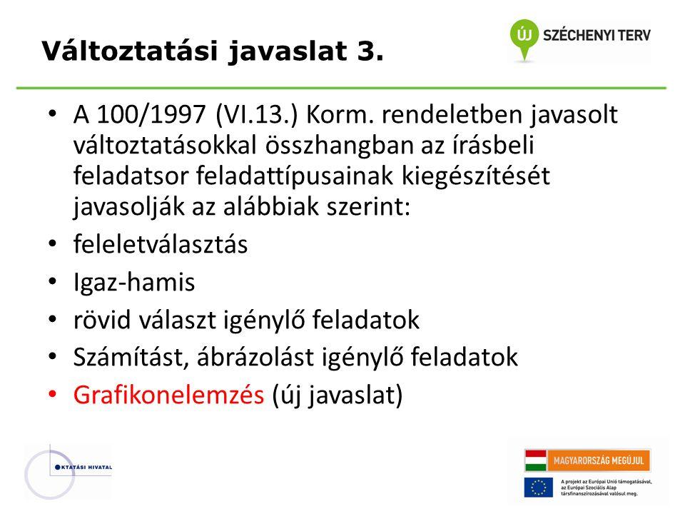 A 100/1997 (VI.13.) Korm. rendeletben javasolt változtatásokkal összhangban az írásbeli feladatsor feladattípusainak kiegészítését javasolják az alább