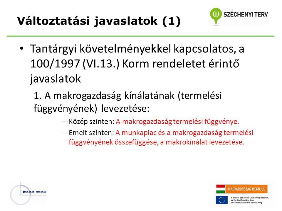 Tantárgyi követelményekkel kapcsolatos, a 100/1997 (VI.13.) Korm rendeletet érintő javaslatok 1. A makrogazdaság kínálatának (termelési függvényének)