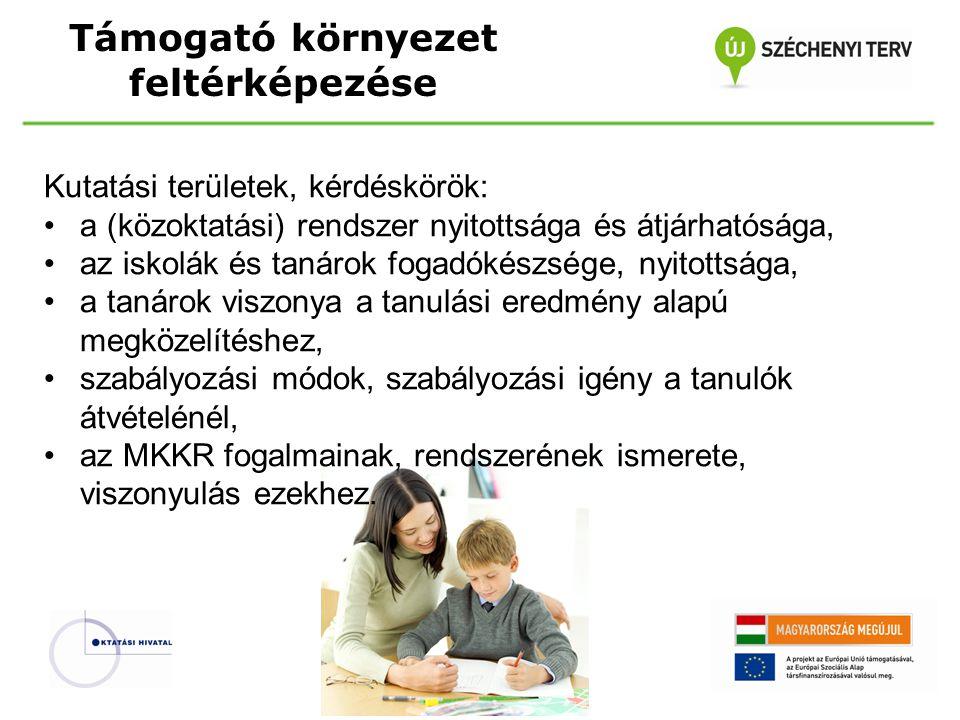 Támogató környezet feltérképezése Kutatási területek, kérdéskörök: a (közoktatási) rendszer nyitottsága és átjárhatósága, az iskolák és tanárok fogadókészsége, nyitottsága, a tanárok viszonya a tanulási eredmény alapú megközelítéshez, szabályozási módok, szabályozási igény a tanulók átvételénél, az MKKR fogalmainak, rendszerének ismerete, viszonyulás ezekhez.