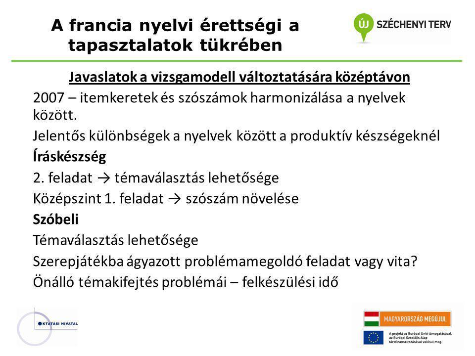 Javaslatok a vizsgamodell változtatására középtávon 2007 – itemkeretek és szószámok harmonizálása a nyelvek között.