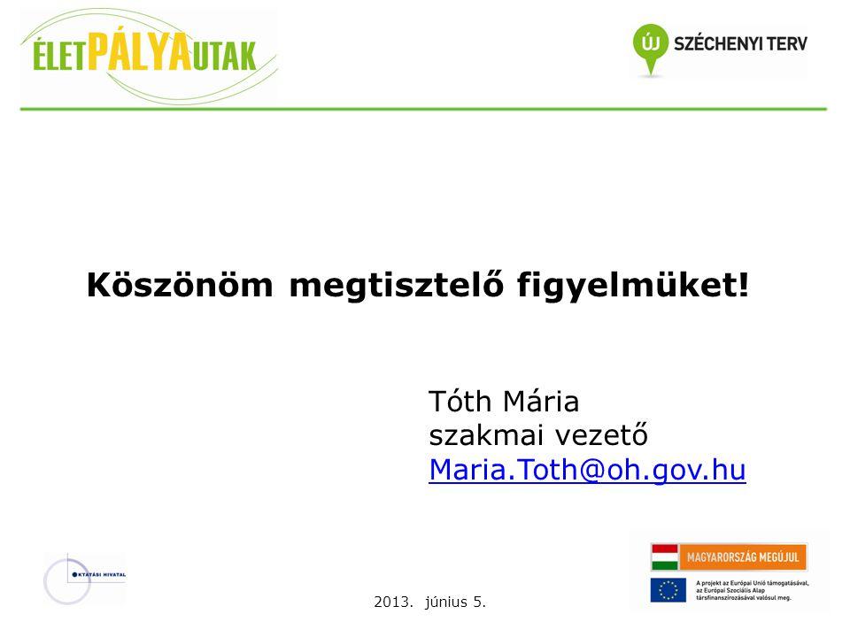 2013. június 5. Köszönöm megtisztelő figyelmüket! Tóth Mária szakmai vezető Maria.Toth@oh.gov.hu