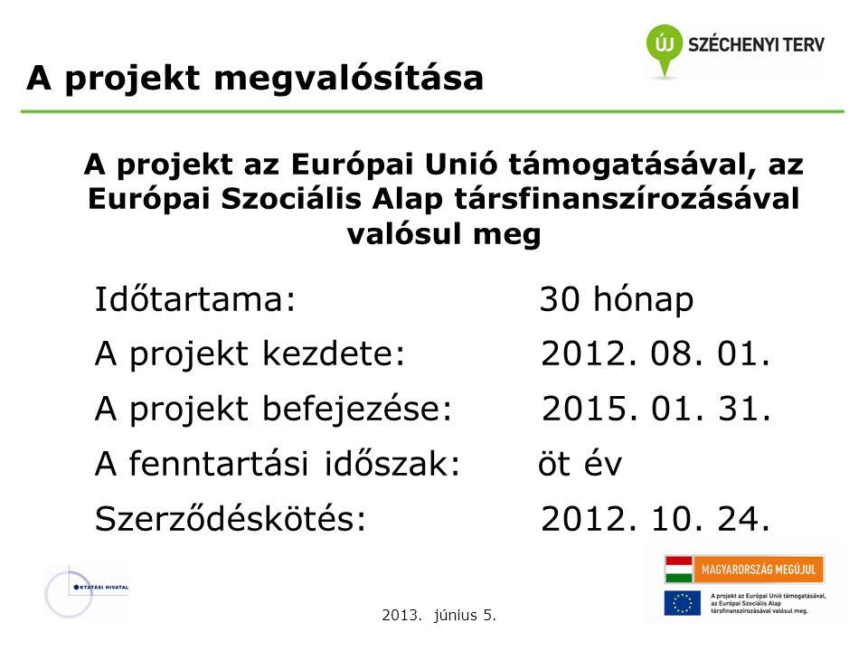 2013. június 5. A projekt az Európai Unió támogatásával, az Európai Szociális Alap társfinanszírozásával valósul meg Időtartama: 30 hónap A projekt ke