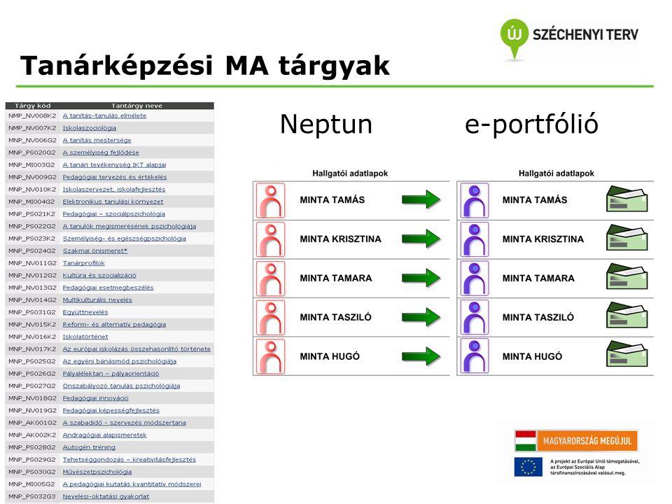 Tanárképzési MA tárgyak Neptune-portfólió