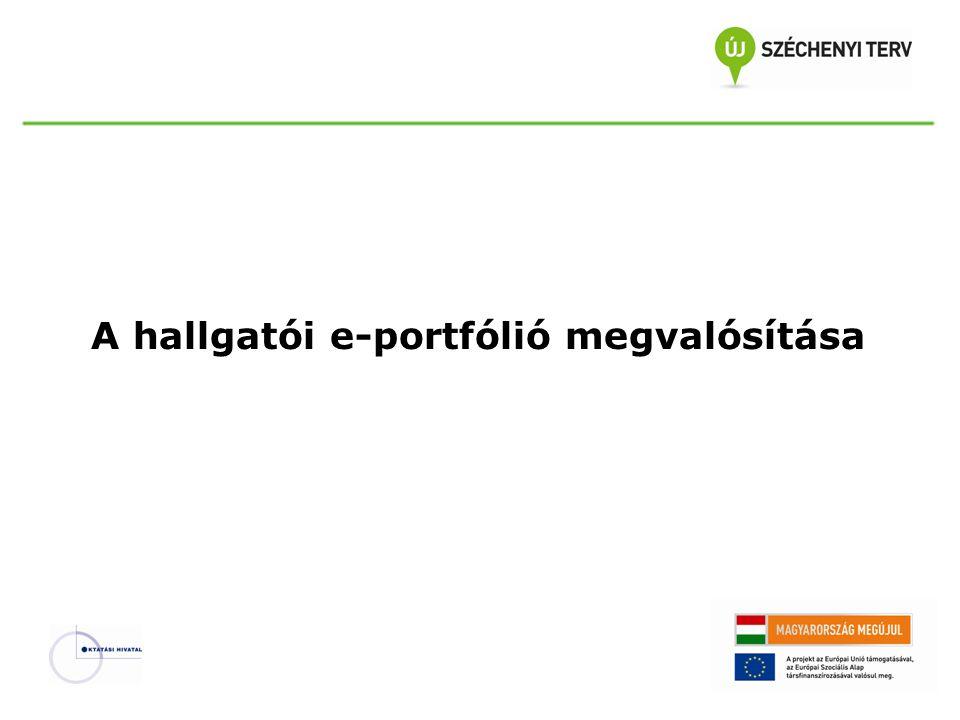 A hallgatói e-portfólió szerepei  e-portfólió koordinátor (informatikai és pedagógiai ismeretek)  e-portfólió rendszergazda (informatikai ismeretek)  oktatókigény szerint képzésjellemzően jelenléti  tutorokigény szerint képzésjellemzően jelenléti  hallgatókképzésjelenléti és táv