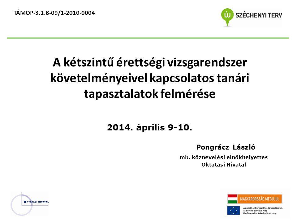 TÁMOP-3.1.8-09/1-2010-0004 A kétszintű érettségi vizsgarendszer követelményeivel kapcsolatos tanári tapasztalatok felmérése 2014.