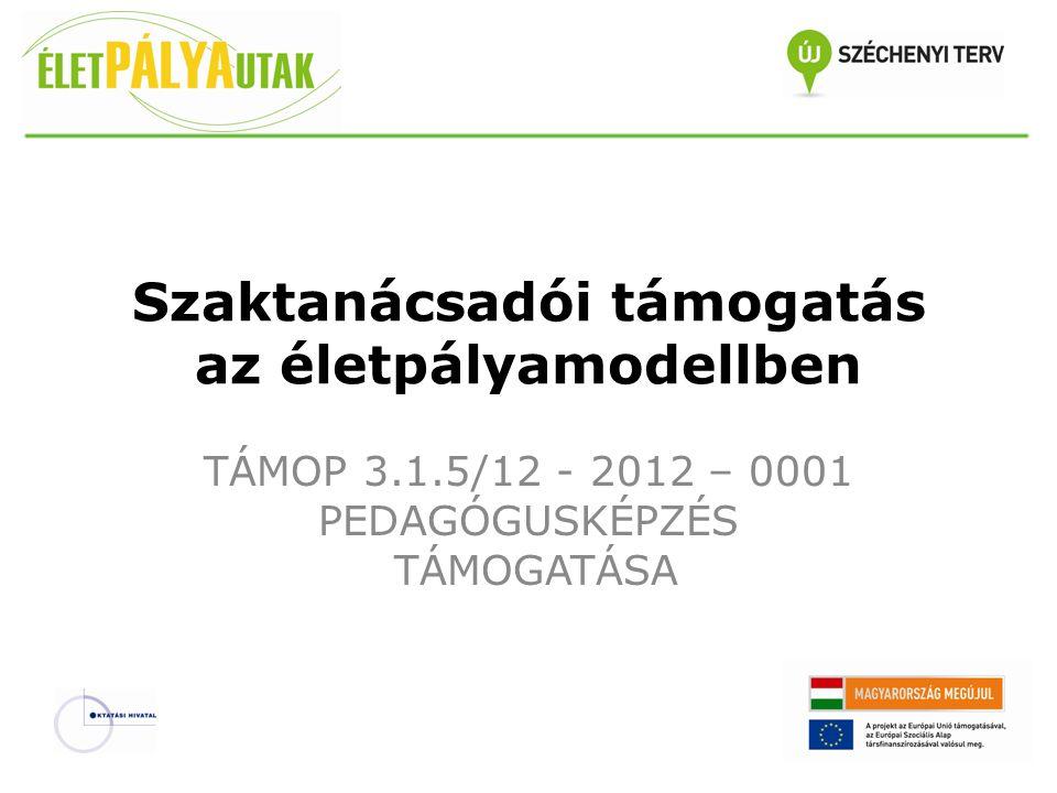 Szaktanácsadói támogatás az életpályamodellben TÁMOP 3.1.5/12 - 2012 – 0001 PEDAGÓGUSKÉPZÉS TÁMOGATÁSA