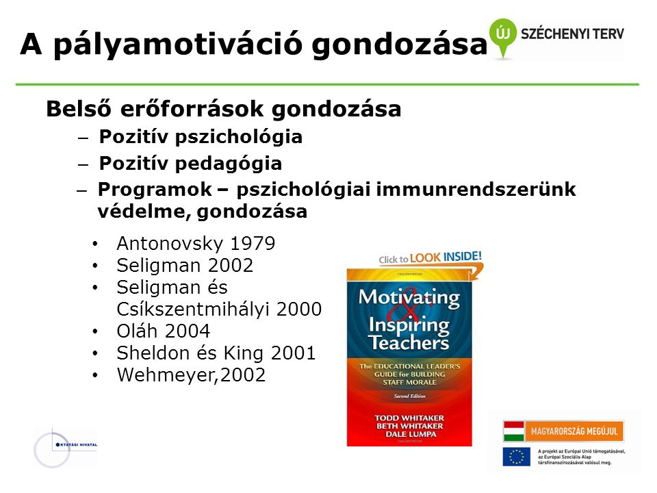 A pályamotiváció gondozása Belső erőforrások gondozása – Pozitív pszichológia – Pozitív pedagógia – Programok – pszichológiai immunrendszerünk védelme