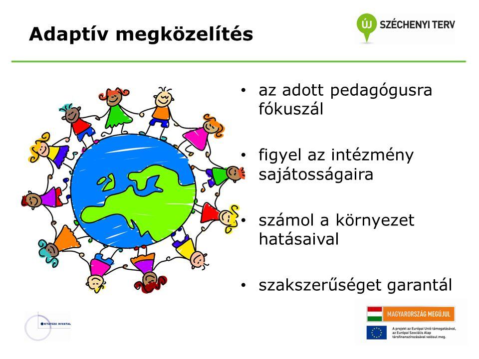 Adaptív megközelítés az adott pedagógusra fókuszál figyel az intézmény sajátosságaira számol a környezet hatásaival szakszerűséget garantál