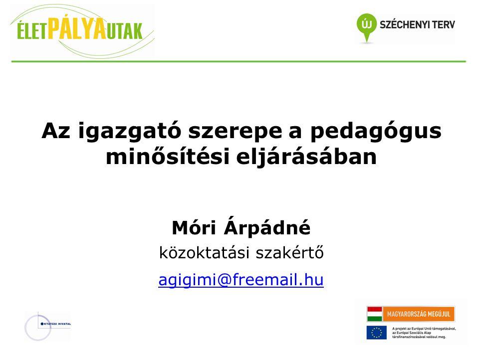 Az igazgató szerepe a pedagógus minősítési eljárásában Móri Árpádné közoktatási szakértő agigimi@freemail.hu