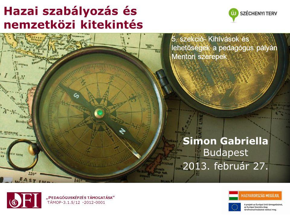 """""""P EDAGÓGUSKÉPZÉS TÁMOGATÁSA TÁMOP-3.1.5/12 -2012-0001 Oktatáspolitikai célok az EU-ban A Lisszaboni csúcs stratégiai céljai - munkacsoportok Egyik feladat: pedagógusképzés és – továbbképzés fejlesztése, megújítása Tanárok és oktatók képzése és továbbképzése munkacsoport Gyakorlati munkaprogram kidolgozása Tevékenység megkezdése: 2001 Magyarország: 2002-től csatlakozott (Milotay, 2004)"""