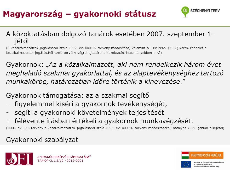 """""""P EDAGÓGUSKÉPZÉS TÁMOGATÁSA """" TÁMOP-3.1.5/12 -2012-0001 Magyarország – gyakornoki státusz A közoktatásban dolgozó tanárok esetében 2007. szeptember 1"""