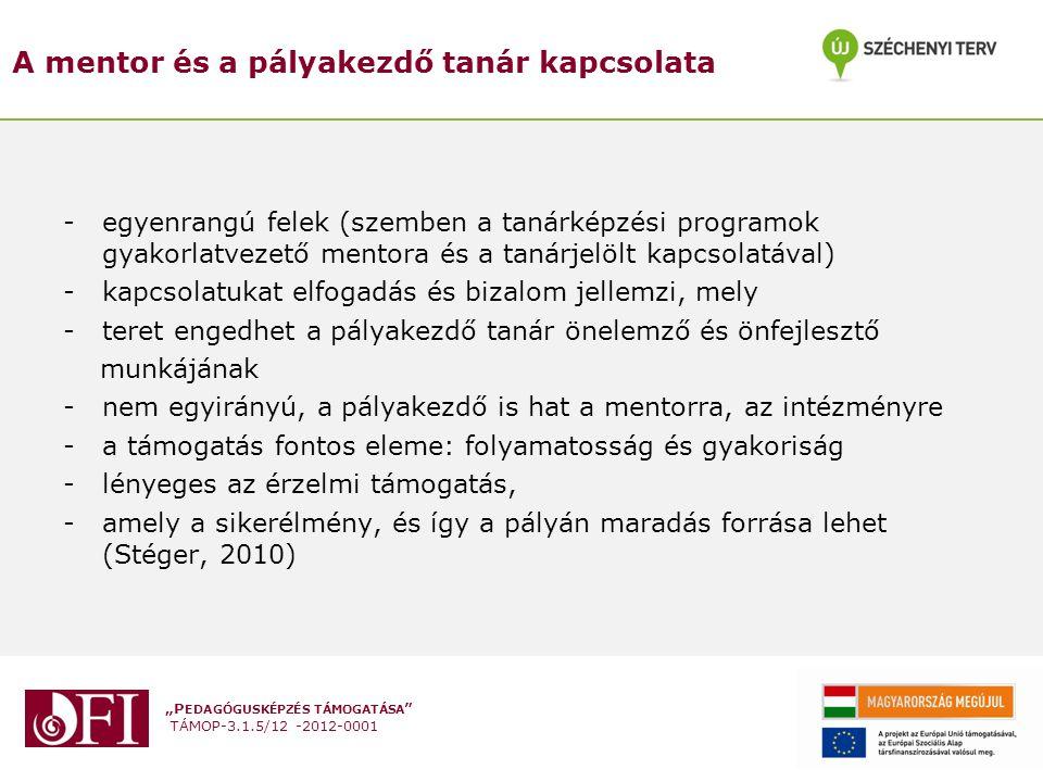 """""""P EDAGÓGUSKÉPZÉS TÁMOGATÁSA """" TÁMOP-3.1.5/12 -2012-0001 A mentor és a pályakezdő tanár kapcsolata - egyenrangú felek (szemben a tanárképzési programo"""