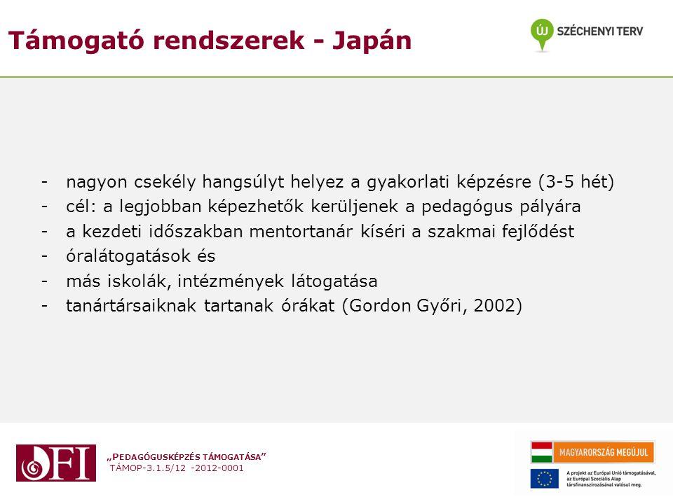 """""""P EDAGÓGUSKÉPZÉS TÁMOGATÁSA """" TÁMOP-3.1.5/12 -2012-0001 Támogató rendszerek - Japán -nagyon csekély hangsúlyt helyez a gyakorlati képzésre (3-5 hét)"""
