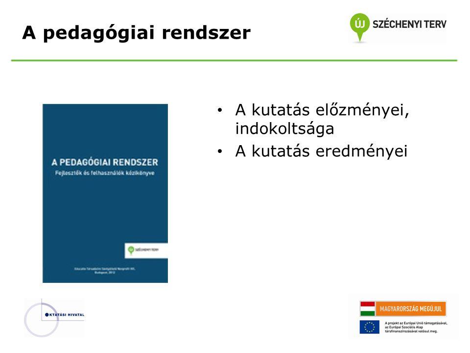 A pedagógiai rendszer A kutatás előzményei, indokoltsága A kutatás eredményei