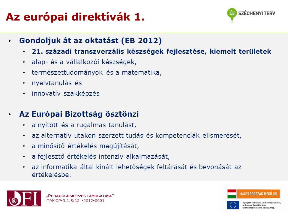 """""""P EDAGÓGUSKÉPZÉS TÁMOGATÁSA TÁMOP-3.1.5/12 -2012-0001 Az európai direktívák 1."""