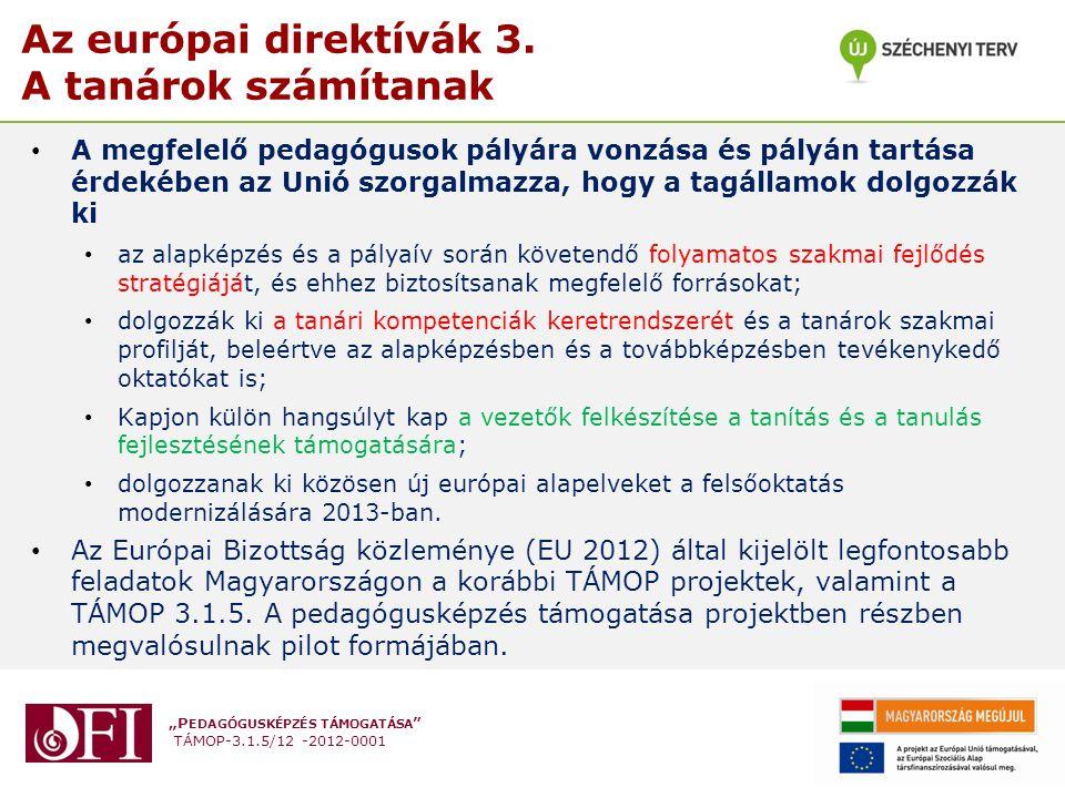 """""""P EDAGÓGUSKÉPZÉS TÁMOGATÁSA """" TÁMOP-3.1.5/12 -2012-0001 Az európai direktívák 3. A tanárok számítanak A megfelelő pedagógusok pályára vonzása és pály"""