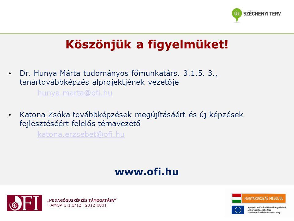 """""""P EDAGÓGUSKÉPZÉS TÁMOGATÁSA TÁMOP-3.1.5/12 -2012-0001 Köszönjük a figyelmüket."""