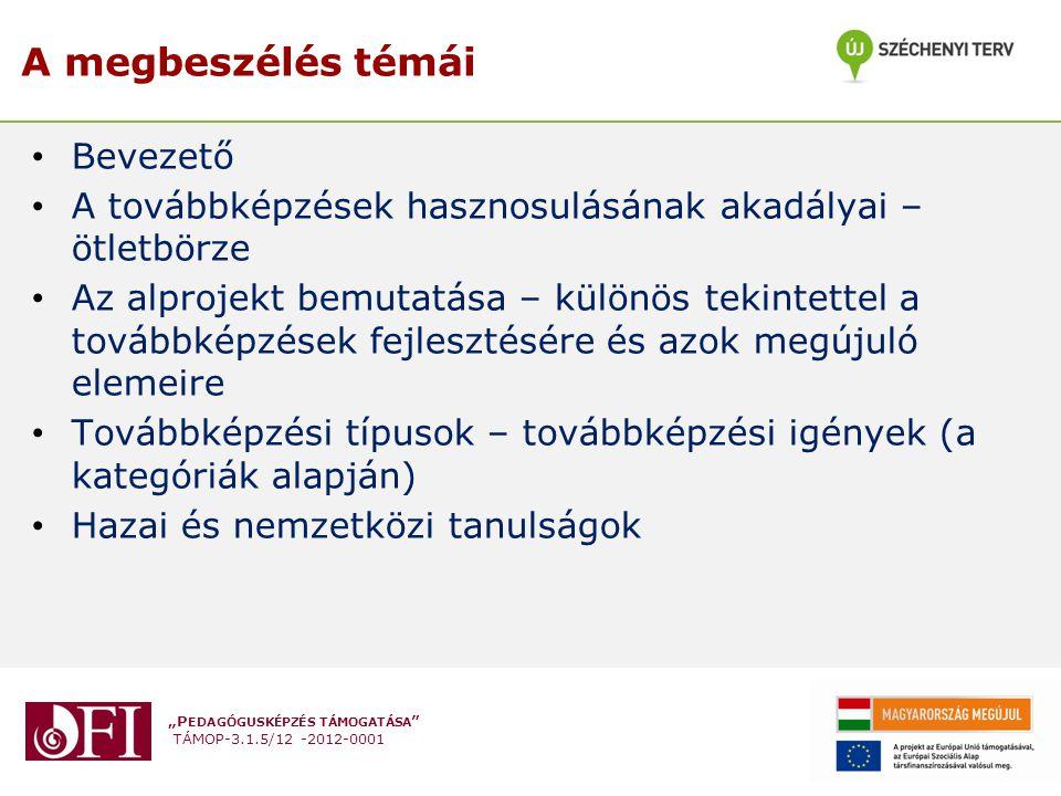 """""""P EDAGÓGUSKÉPZÉS TÁMOGATÁSA TÁMOP-3.1.5/12 -2012-0001 A megbeszélés témái Bevezető A továbbképzések hasznosulásának akadályai – ötletbörze Az alprojekt bemutatása – különös tekintettel a továbbképzések fejlesztésére és azok megújuló elemeire Továbbképzési típusok – továbbképzési igények (a kategóriák alapján) Hazai és nemzetközi tanulságok"""