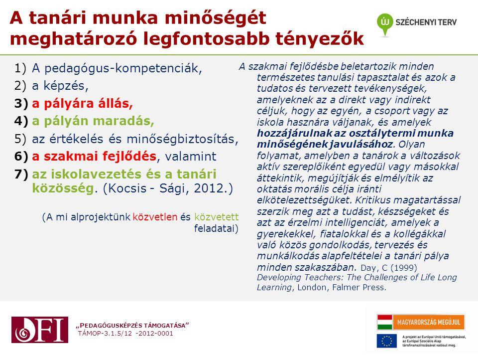 """""""P EDAGÓGUSKÉPZÉS TÁMOGATÁSA TÁMOP-3.1.5/12 -2012-0001 A tanári munka minőségét meghatározó legfontosabb tényezők 1)A pedagógus-kompetenciák, 2)a képzés, 3)a pályára állás, 4)a pályán maradás, 5)az értékelés és minőségbiztosítás, 6)a szakmai fejlődés, valamint 7)az iskolavezetés és a tanári közösség."""