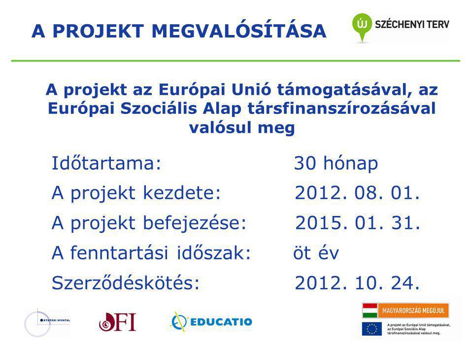 A projekt az Európai Unió támogatásával, az Európai Szociális Alap társfinanszírozásával valósul meg Időtartama: 30 hónap A projekt kezdete: 2012. 08.