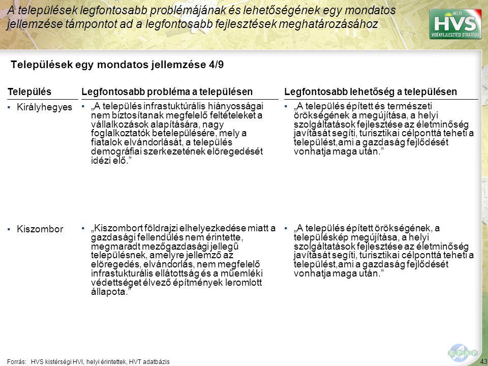 """43 Települések egy mondatos jellemzése 4/9 A települések legfontosabb problémájának és lehetőségének egy mondatos jellemzése támpontot ad a legfontosabb fejlesztések meghatározásához Forrás:HVS kistérségi HVI, helyi érintettek, HVT adatbázis TelepülésLegfontosabb probléma a településen ▪Királyhegyes ▪""""A település infrastuktúrális hiányosságai nem biztosítanak megfelelő feltételeket a vállalkozások alapítására, nagy foglalkoztatók betelepülésére, mely a fiatalok elvándorlását, a település demográfiai szerkezetének elöregedését idézi elő. ▪Kiszombor ▪""""Kiszombort földrajzi elhelyezkedése miatt a gazdasági fellendülés nem érintette, megmaradt mezőgazdasági jellegű településnek, amelyre jellemző az elöregedés, elvándorlás, nem megfelelő infrastukturális ellátottság és a műemléki védettséget élvező építmények leromlott állapota. Legfontosabb lehetőség a településen ▪""""A település épített és természeti örökségének a megújítása, a helyi szolgáltatások fejlesztése az életminőség javítását segíti, turisztikai célponttá teheti a települést,ami a gazdaság fejlődését vonhatja maga után. ▪""""A település épített örökségének, a településkép megújítása, a helyi szolgáltatások fejlesztése az életminőség javítását segíti, turisztikai célponttá teheti a települést,ami a gazdaság fejlődését vonhatja maga után."""