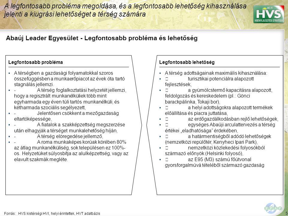 5 Abaúj Leader Egyesület - Legfontosabb probléma és lehetőség A legfontosabb probléma megoldása, és a legfontosabb lehetőség kihasználása jelenti a kiugrási lehetőséget a térség számára Forrás:HVS kistérségi HVI, helyi érintettek, HVT adatbázis Legfontosabb problémaLegfontosabb lehetőség ▪A térségben a gazdasági folyamatokkal szoros összefüggésben a munkaerőpiacot az évek óta tartó stagnálás jellemzi.