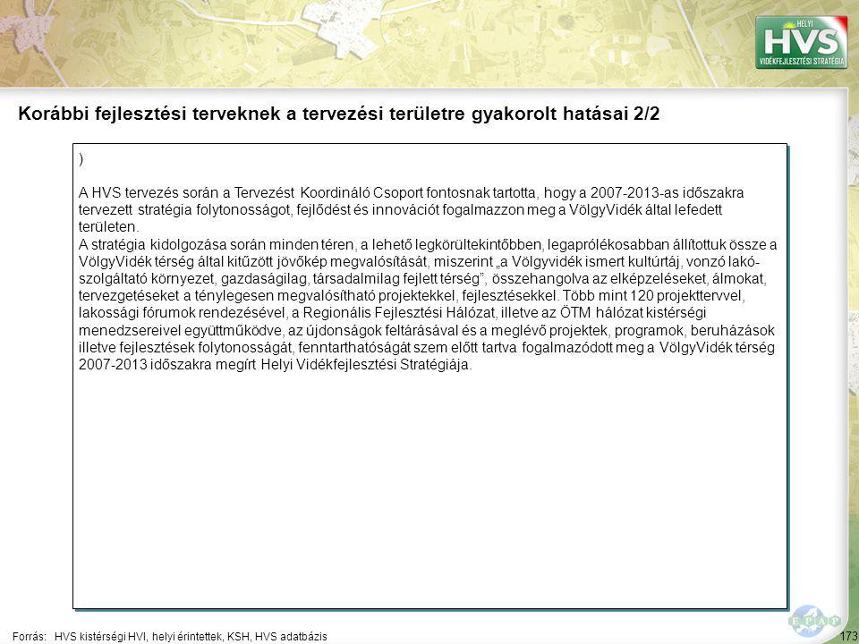 173 ) A HVS tervezés során a Tervezést Koordináló Csoport fontosnak tartotta, hogy a 2007-2013-as időszakra tervezett stratégia folytonosságot, fejlődést és innovációt fogalmazzon meg a VölgyVidék által lefedett területen.