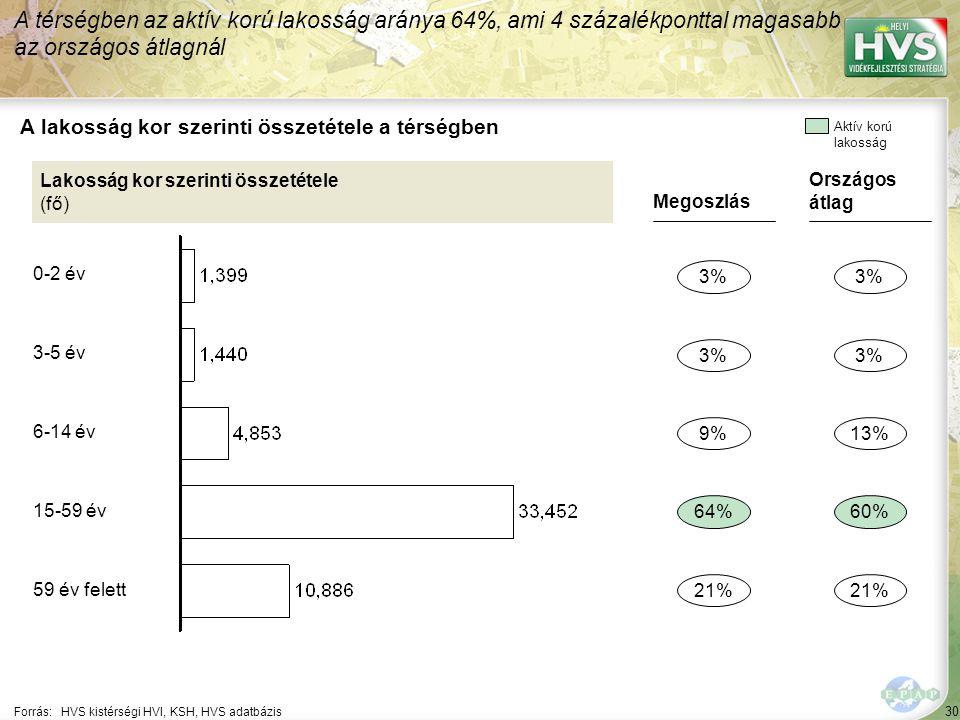 30 Forrás:HVS kistérségi HVI, KSH, HVS adatbázis A lakosság kor szerinti összetétele a térségben A térségben az aktív korú lakosság aránya 64%, ami 4 százalékponttal magasabb az országos átlagnál Lakosság kor szerinti összetétele (fő) Megoszlás 3% 64% 21% 9% Országos átlag 3% 60% 21% 13% Aktív korú lakosság 0-2 év 3-5 év 6-14 év 15-59 év 59 év felett