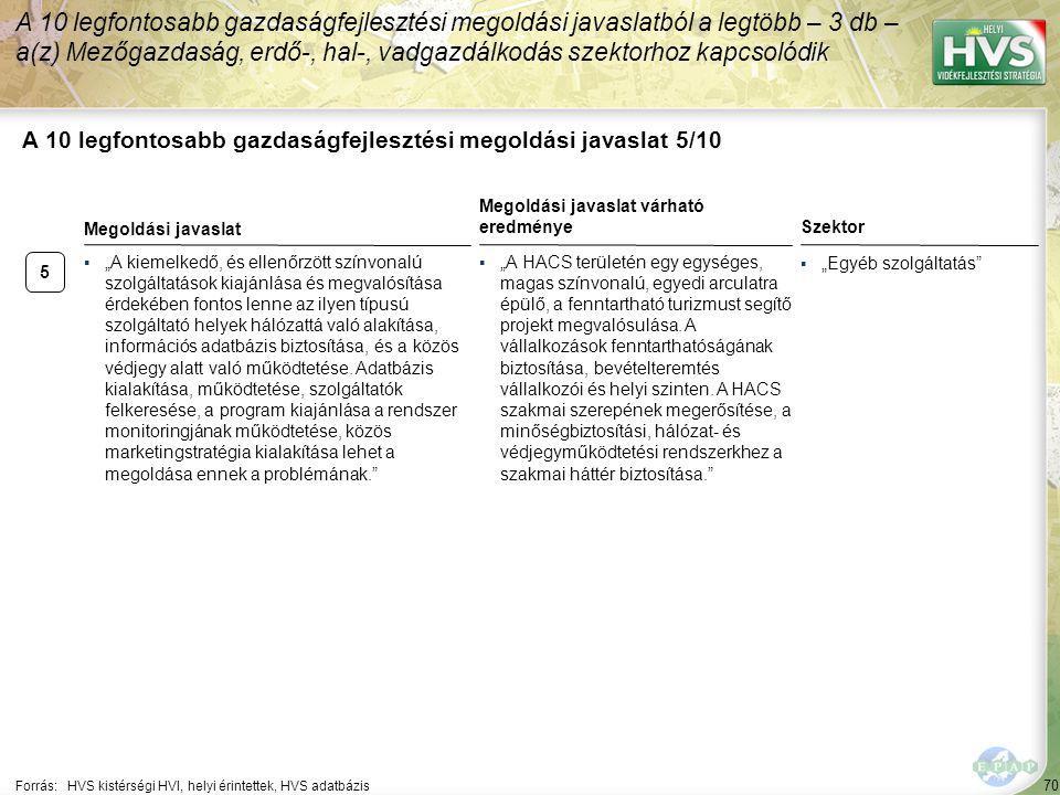 """70 A 10 legfontosabb gazdaságfejlesztési megoldási javaslat 5/10 Forrás:HVS kistérségi HVI, helyi érintettek, HVS adatbázis Szektor ▪""""Egyéb szolgáltat"""